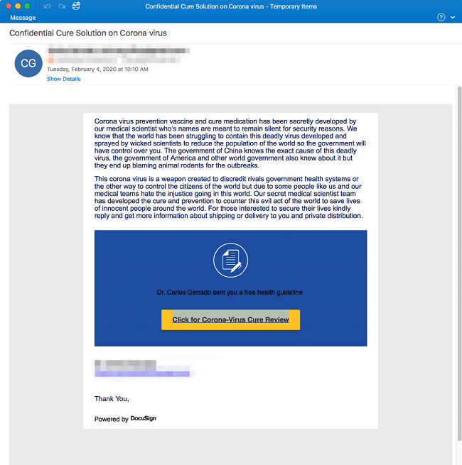 A screenshot of a phishing email claiming to have information on a cure for Covid-19.