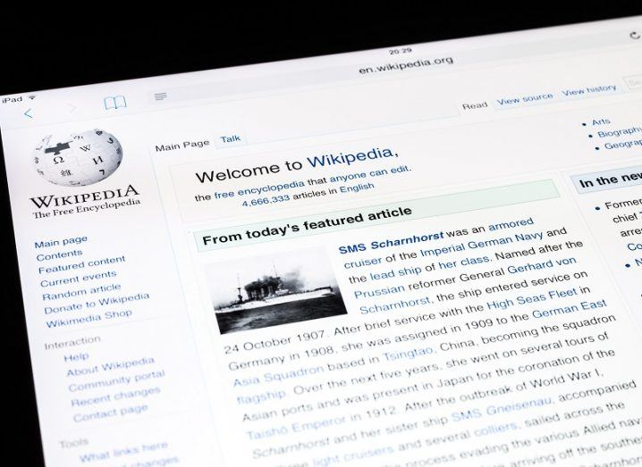 Front page of Wikipedia seen on a computer screen.