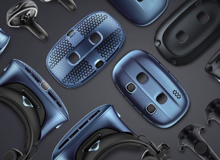 A collection of HTC Vive Cosmos VR headsets and new modular faceplates.