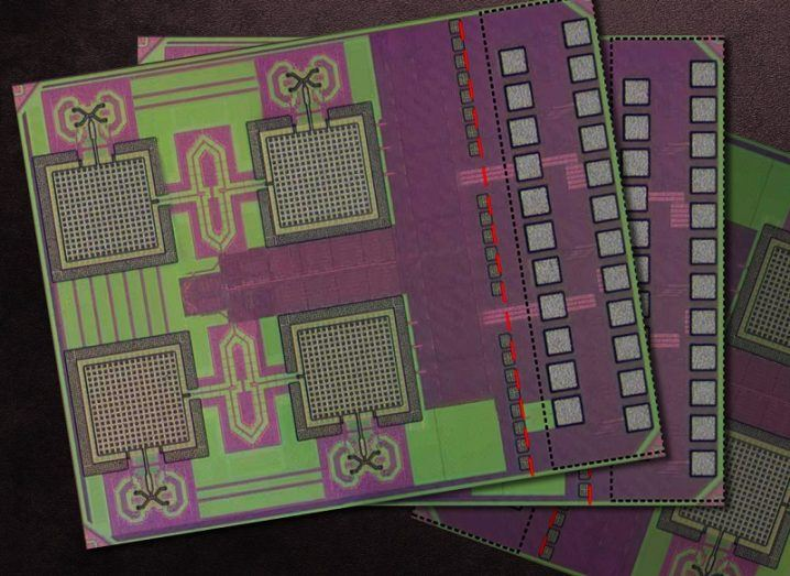 Close-up image of the millimetre-sized chip coloured purple and green.