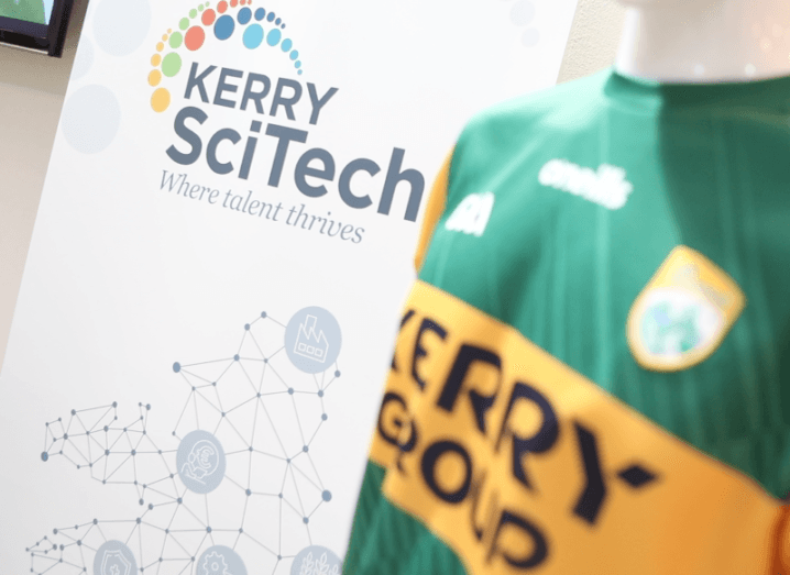 A Kerry GAA jersey on a mannequin with a pop-up displaying the KerrySciTech logo in the background.
