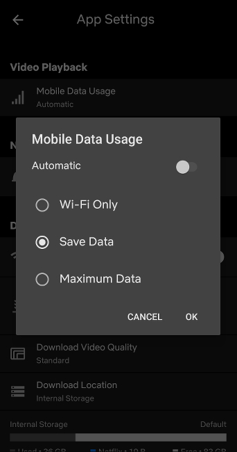 Screenshot of Mobile Data Usage settings on the Netflix Android app with Automatic toggled off and Save Data selected.
