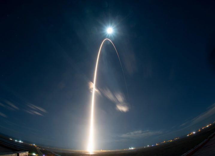 Long-exposure shot of Solar Orbiter launching atop the US Atlas V 411 rocket against the night's sky.