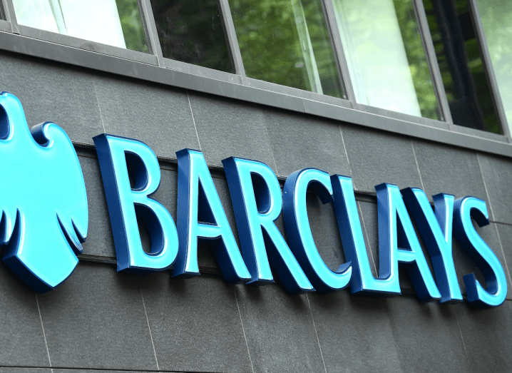 The turqouise Barclays logo outside a retail branch.