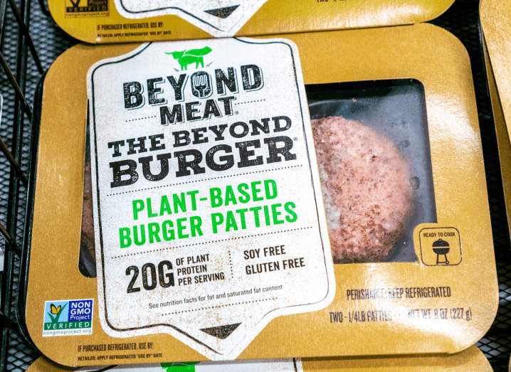 The packaging of plant-based meat alternative Beyond Meat.