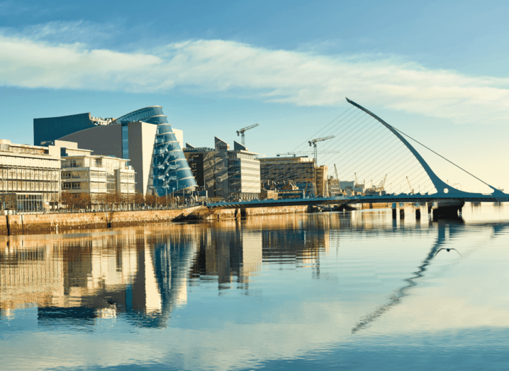Dublin's docklands and the Samuel Beckett bridge in front of the Convention Centre.