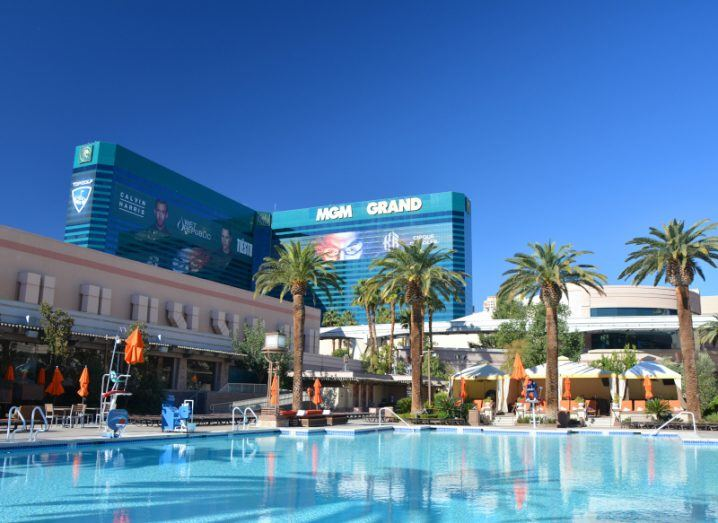 A low shot of the MGM Grand Hotel and outdoor pool in Las Vegas.