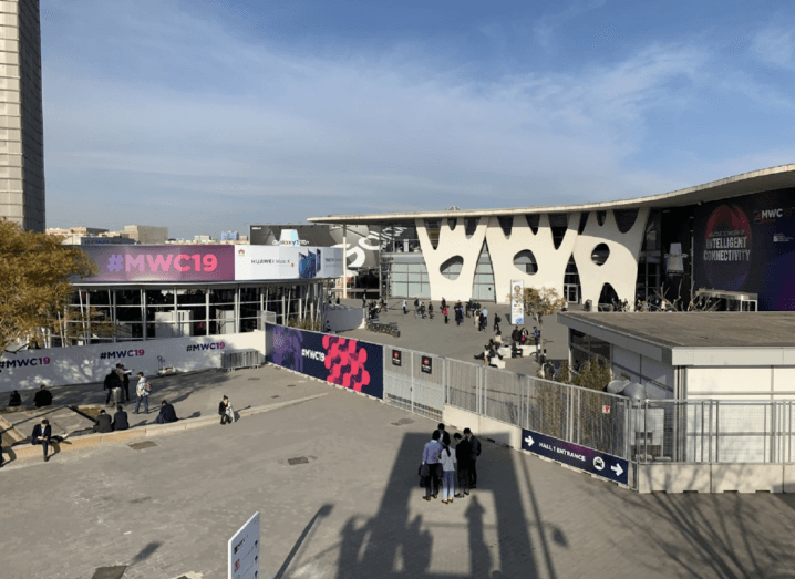 The exterior of MWC 2019 in Barcelona.