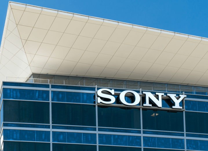 The Sony logo displayed on a building front under a blue sky.