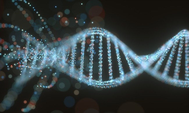 Concept image of a colourful structure of a DNA helix.