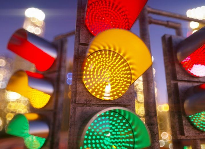 Close-up of a set of traffic lights.