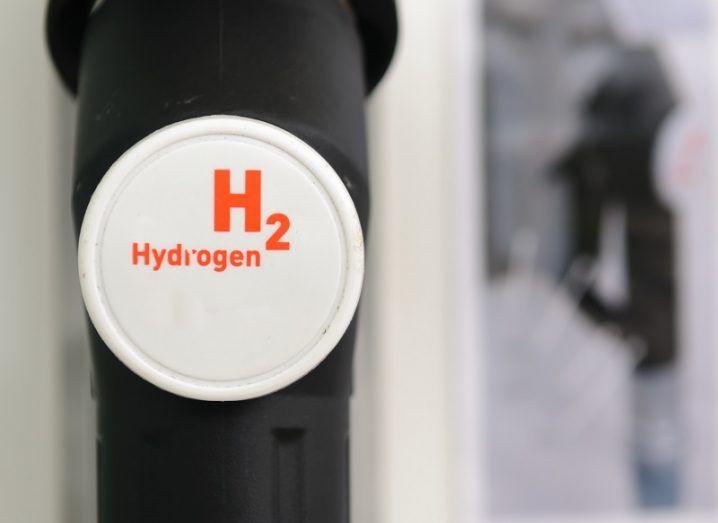 Close-up of a hydrogen fuel pump nozzle.