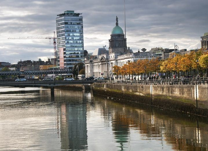 View of the Liffey with the Custom House and Liberty Hall in the background.