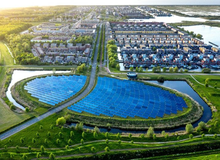 Aerial shot of a modern sustainable neighbourhood in Almere, The Netherlands.
