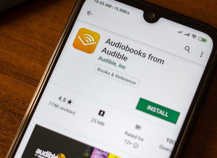 The Audible Google Play Store page open on a phone.