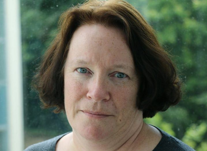 Headshot of Gerardine Meaney against a leafy background.