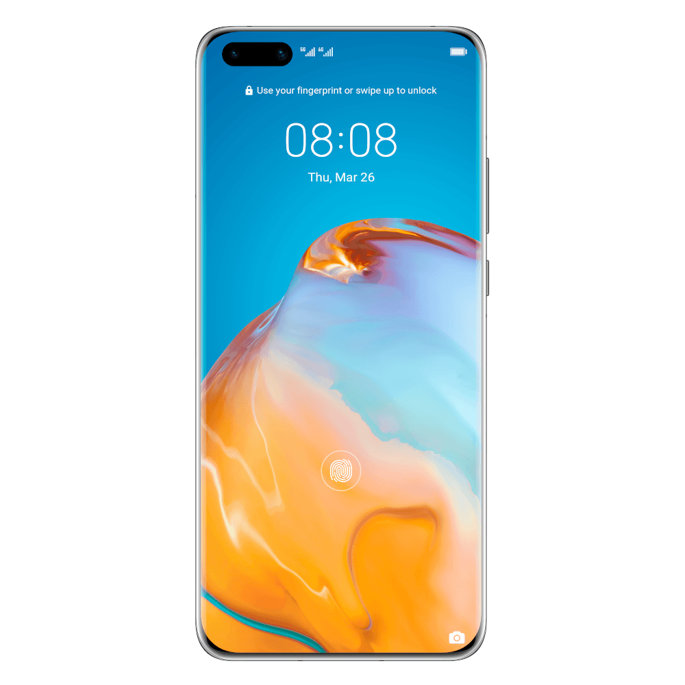 A bright blue phone screen background with an orange pattern on it and the clock displaying the time.