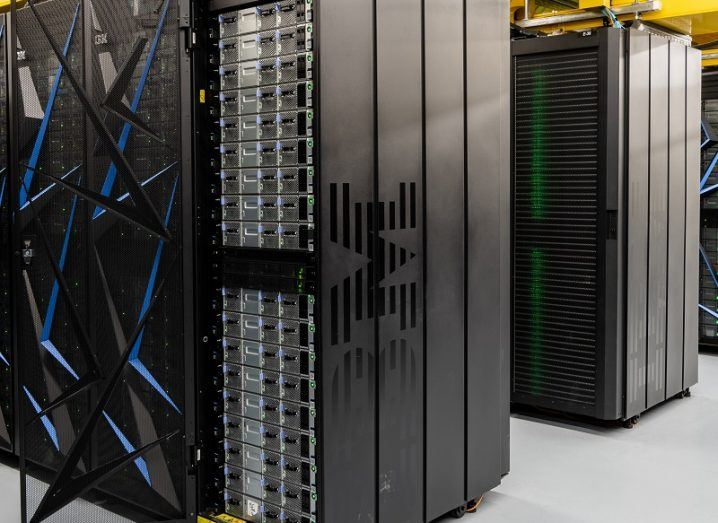 Two large stacks of the IBM Summit supercomputer.