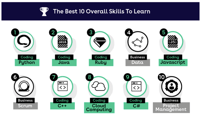 Infographic showing the top 10 skills from TotallyMoney.