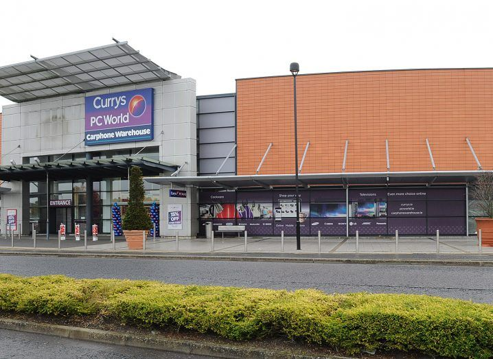 Currys PC world storefront in a retail park.