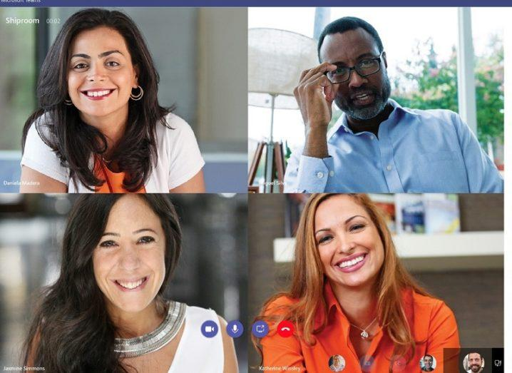 Four people smiling on webcam while using the Microsoft Teams tool.