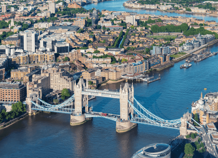 An aerial view of London bridge in the UK.