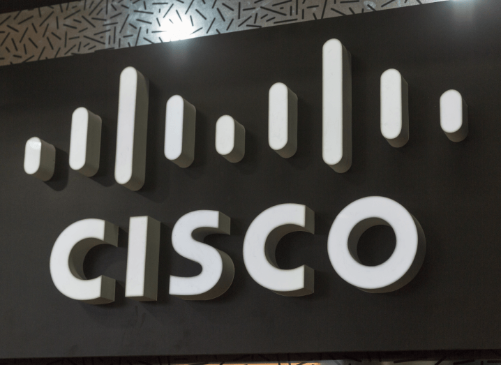 The Cisco logo displayed on a wall.