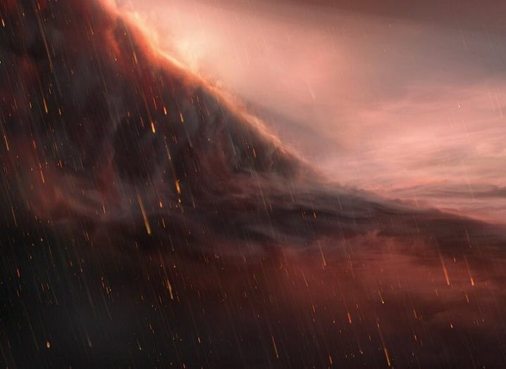 Illustration of WASP-76b with molten iron rain falling against a backdrop of red sky and dark clouds.