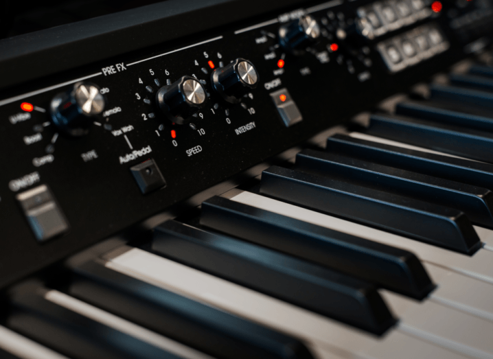 A Korg synthesiser photographed up close.