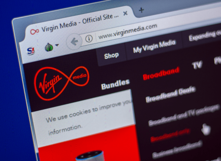 The Virgin Media website displayed on a web browser.