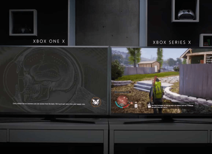 Two TV screens displaying loading times from different Xbox consoles.