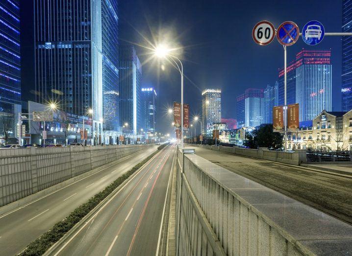 Empty motorway entering Wuhan at night.