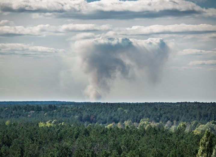 Smoke from a wildfire in the Chernobyl exclusion zone, seen from a distance.