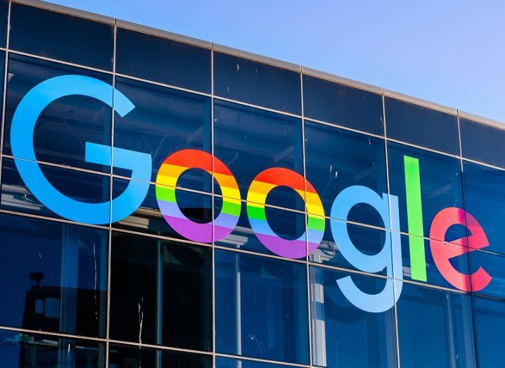 Google logo on a glass building exterior.