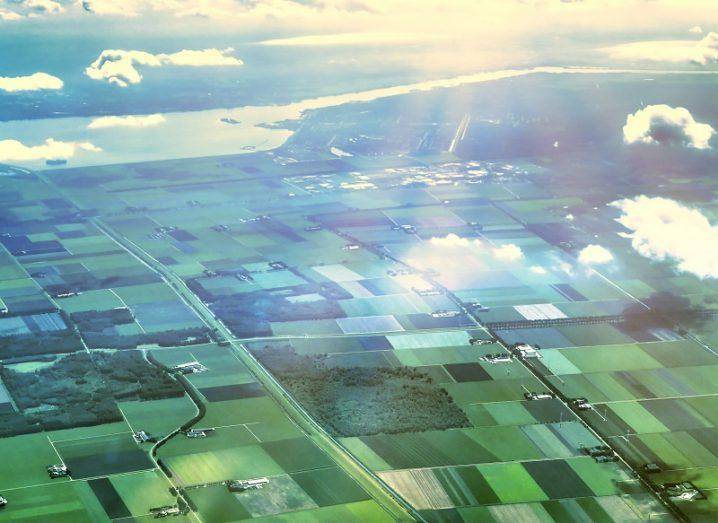Aerial view of fields on a sunny day.