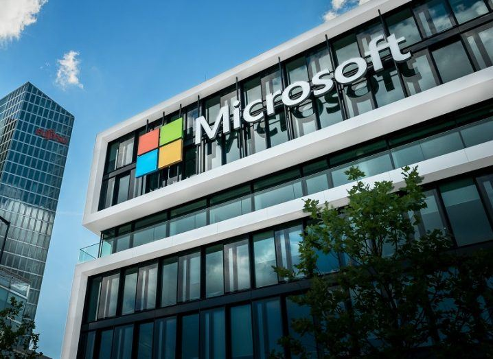 Exterior of Microsoft office in Munich against a blue sky.