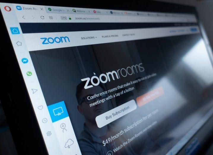 Zoom login screen on a laptop.