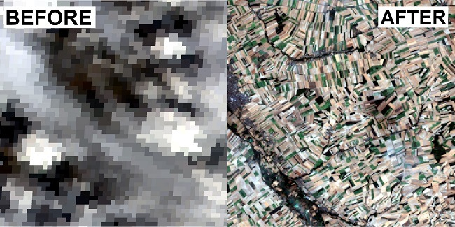 Before and after image of the AI modelling on a satellite image of farmland.