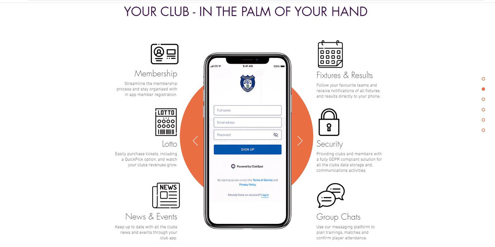 An image displaying some of the features on the ClubSpot app, which includes news and events for members and lotteries, as well as a calendar of upcoming events.