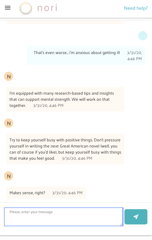 A chatbot sending encouraging messages to a user, advising them to do things that they enjoy to avoid feeling anxious about their health condition.