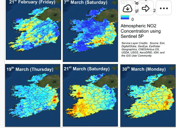 Maps showing where NO2 levels are high and low across Ireland.
