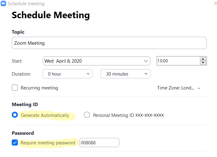 A screenshot of a pop up to schedule a Zoom meeting, showing a number of settings.