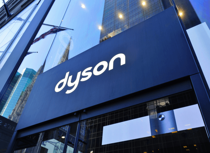 The Dyson logo on the front of a building.