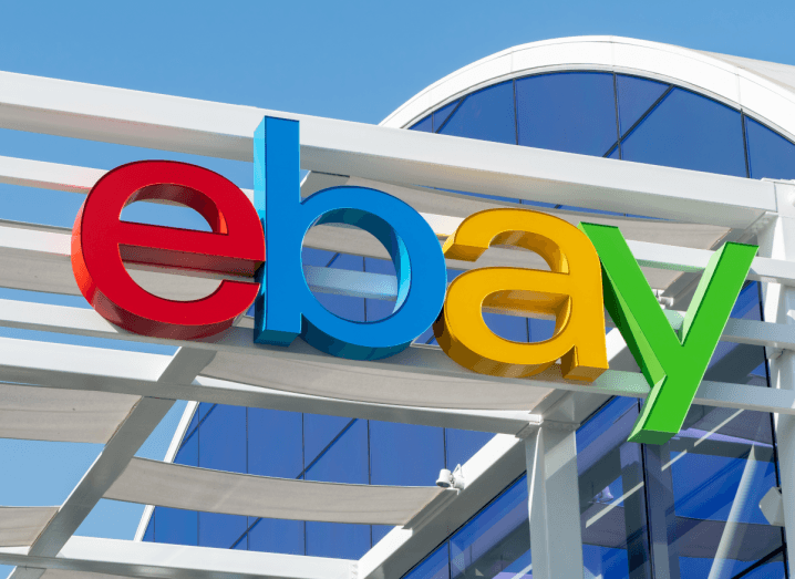 The eBay logo displayed on the front of a building.