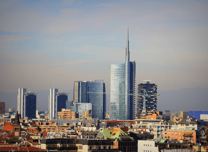 The skyline of Milan, a city in Italy's Lombardy region.