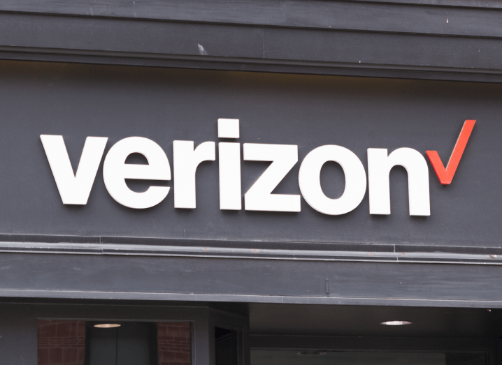 The Verizon logo displayed on the front of a building.