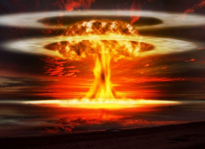 Illustration of a powerful nuclear explosion.