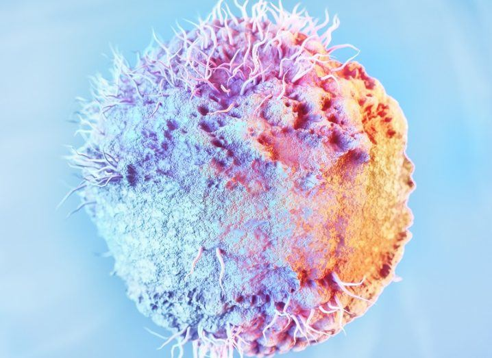 3D render of the herpes virus coloured blue, purple and orange.