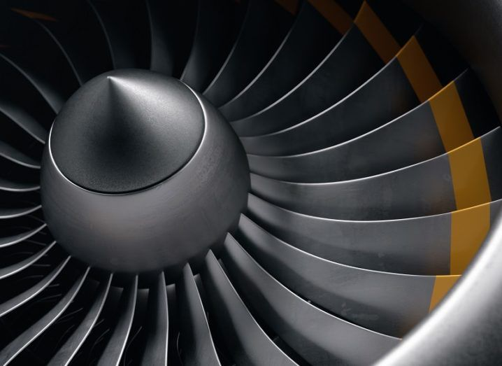 Close-up of a jet engine's blades.