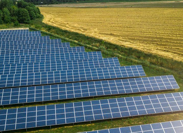 Aerial shot of a solar farm beside a yellow field.